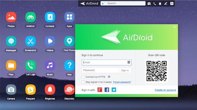 کنترل گوشی اندروید با کامپیوتر - Airdroid
