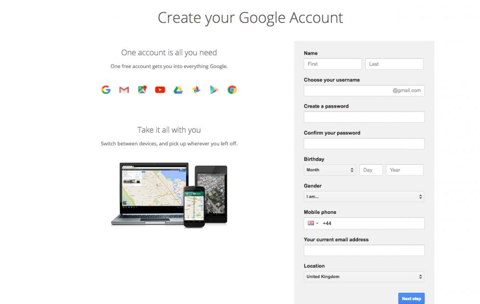 ساخت ایمیل جدید گوگل