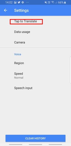 تنظیمات tap ro translate مترجم گوگل